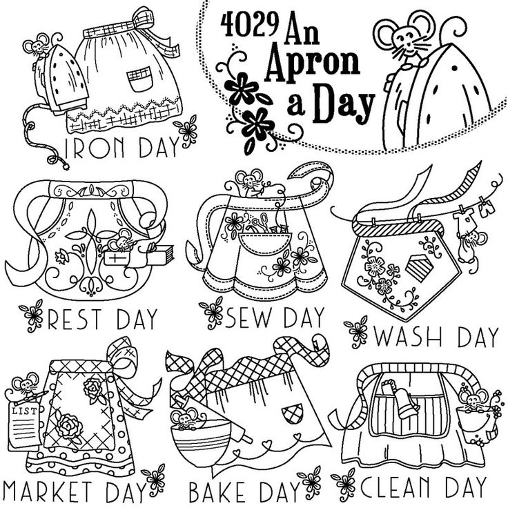 Aunt Martha's #4029 An Apron A Day modern embroidery pattern $1.60