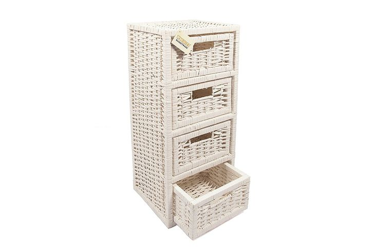 WoodLuv 4-Drawer Wicker Storage Tower Unit for Bathroom/Bedroom, White: Amazon.co.uk: Kitchen & Home