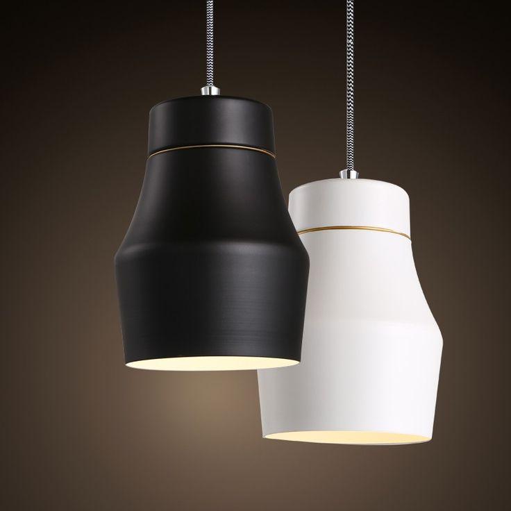 Contemporary Single Light Hanging Pendant Light Fixture in Black/White - Pendant Lights - Ceiling Lights - Lighting