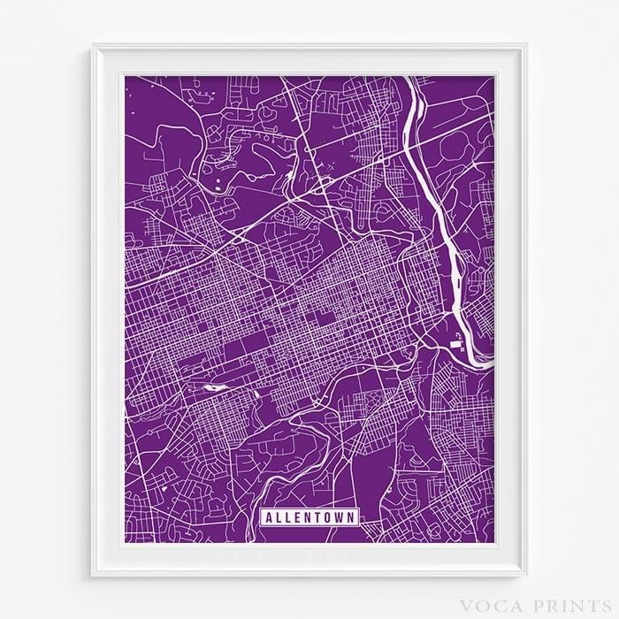 ALLENTOWN, PENNSYLVANIA Street Map Wall Art Poster. Starting at $9.90 with 42 color choices at VocaPrints.com - #streetmap #map #homedecor #wallart #ALLENTOWN #PENNSYLVANIA
