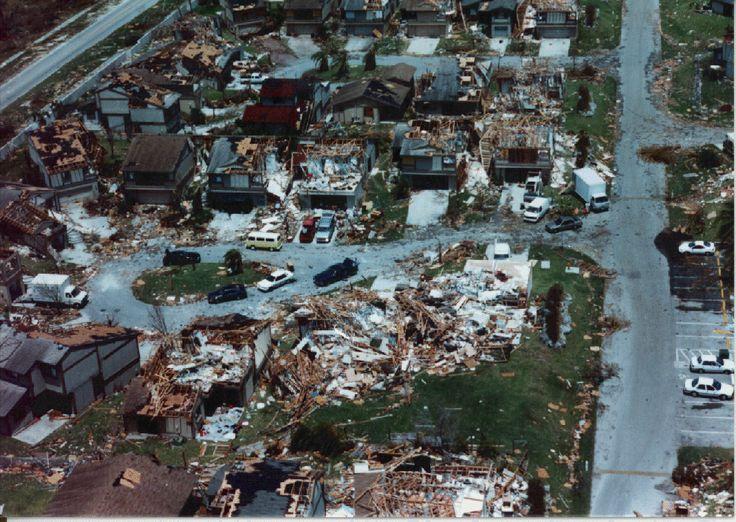 20th Anniversay of Hurricane Andrew. 1992 Andrew damage.
