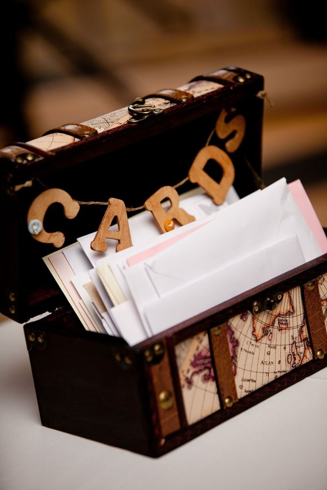 Wedding Card Box idea - get a vintage suitcase and a DIY card sign