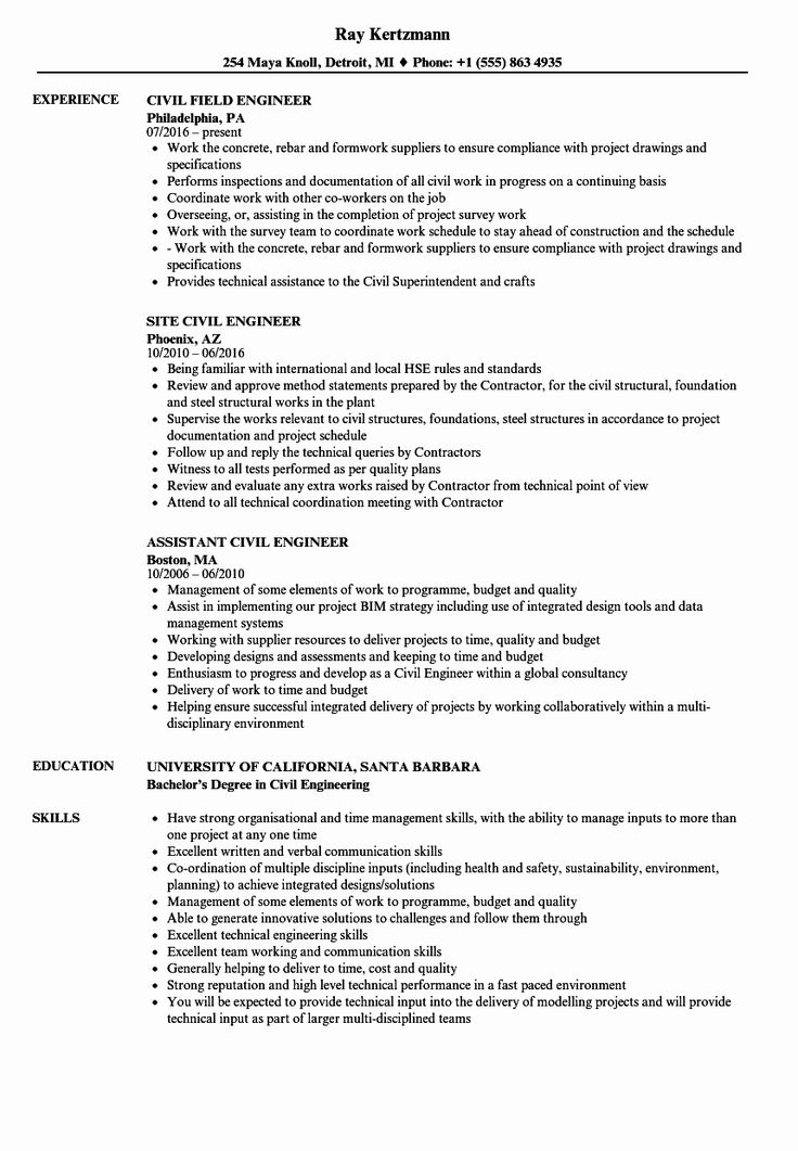 Civil engineering resume examples awesome engineer civil