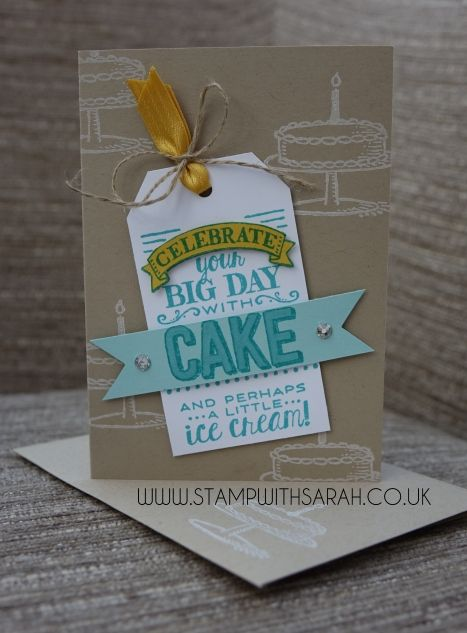 Big Day stamp set (2015 Sale-A-Bration set), Angled Tag Topper punch. (Pin#1: Birthdays... Pin+: Cake...).