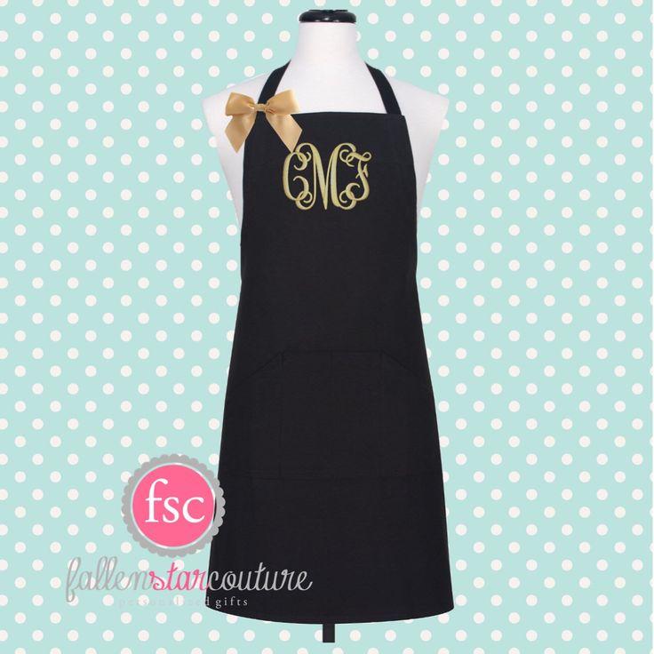 Monogrammed Apron  , kitchen apron , cooking apron , ladies apron , personalized apron by FallenStarCoutureInc on Etsy https://www.etsy.com/listing/457656128/monogrammed-apron-kitchen-apron-cooking