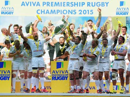Saracens captain Alistair Hargreaves lifts the Aviva Premiership trophy following his team's 28-16 victory during the Aviva Premiership Final between Bath Rugby and Saracens at Twickenham Stadium