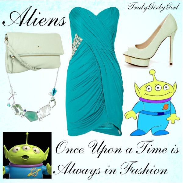 Disney Style: Aliens by trulygirlygirl on Polyvore featuring Laundry by Shelli Segal, Luichiny, Kate Spade, Betty Jackson, disney, toy story, aliens and trulygirlygirl