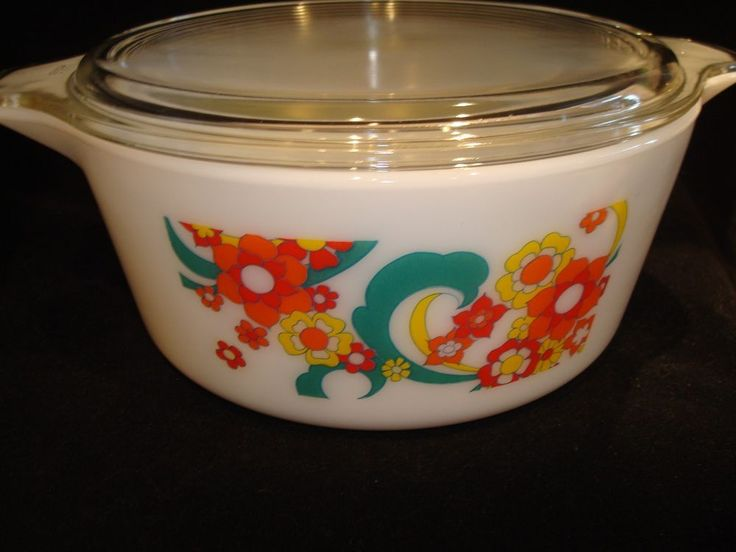 RARE PROMOTIONAL TEST PATTERN VINTAGE PYREX 2 1/2 Qt BOLD FLOWERS EXC HTF