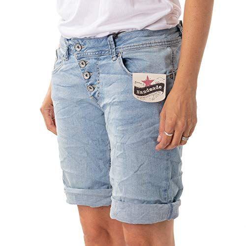 c4ef096857c137 Buena Vista Damen Jeanshose Malibu Short Stretch Denim Kurze Hose Light  Blue XS