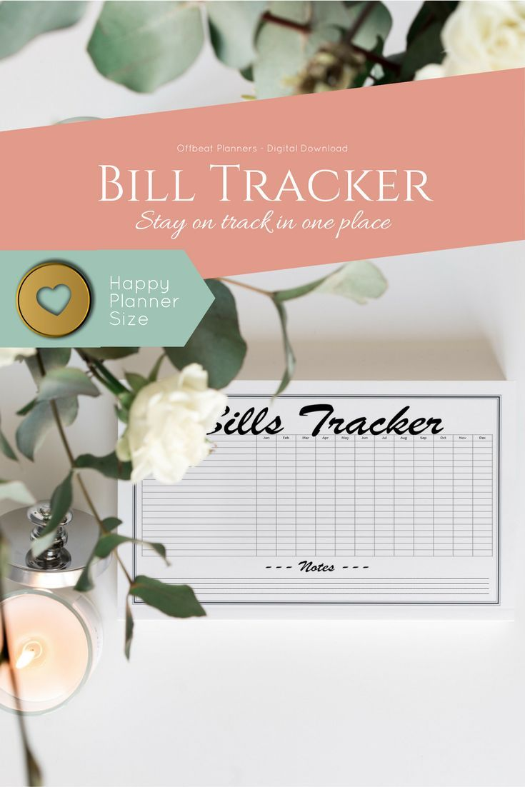 Bill Tracker for letter and half letter size planners, organizers and finance binders.  Bill Payment Tracker. Happy Planner Inserts and Planner Refill Pages for Bill Trackers, Bill Payment and Bill Due Dates.