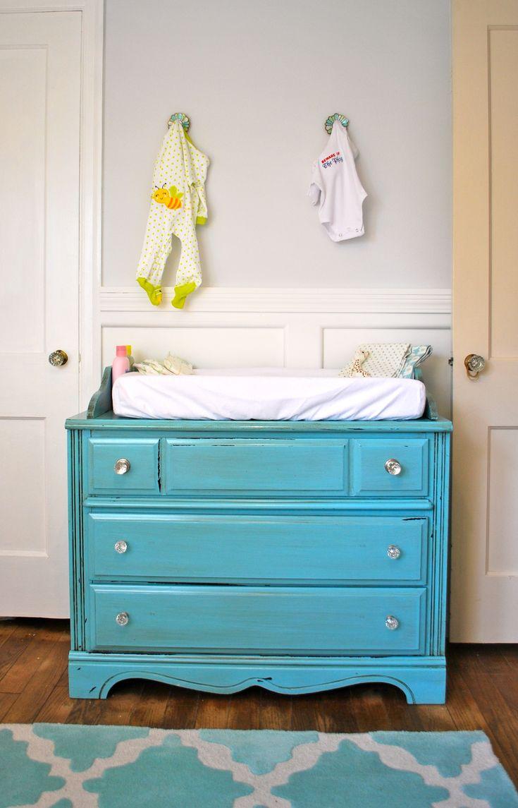 Vintage dresser turned changing table...love!