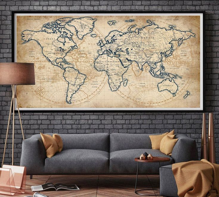 Vintage world map, Old world map, Antique world map print, World map wall art, World map print, World map wall deco, World map - L155