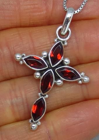 Genuine Garnet Cross Necklace - Sterling Silver - Vintage Victorian Design - Natural Gemstones - G162106