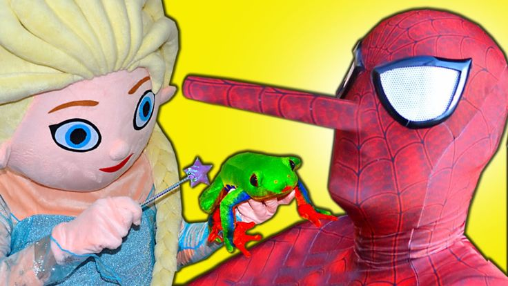 Frozen Elsa vs Spiderman Pinocchio Nose Frozen Elsa Spiderman into Frog ...