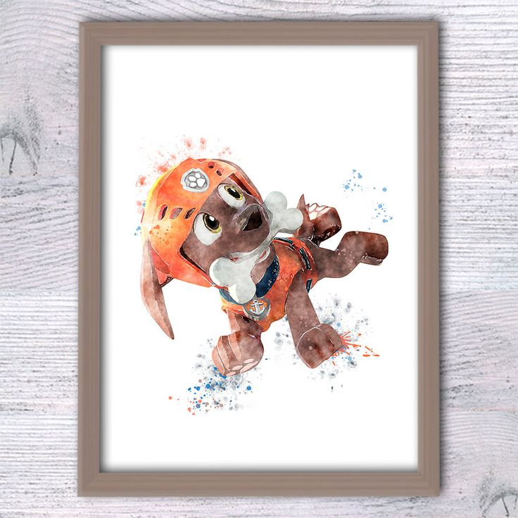 Paw Patrol watercolor poster Zuma PawPatrol character watercolor illustration, paw patrol print, boys room decor, boy gift, Kids decor  V268 by ColorfulPoster on Etsy