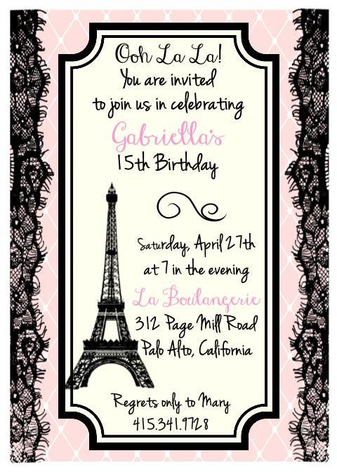 "Printed Eiffel Tower, Parisian Theme Birthday, Bridal Shower or Party Invitation - Size A7 (5""x7"") with Envelopes"