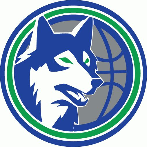 TIMBERWOLVES BASKETBALL Team in USA MLB LOGOS | Minnesota Timberwolves Alternate Logo (1990) - Blue wolf's head on ...