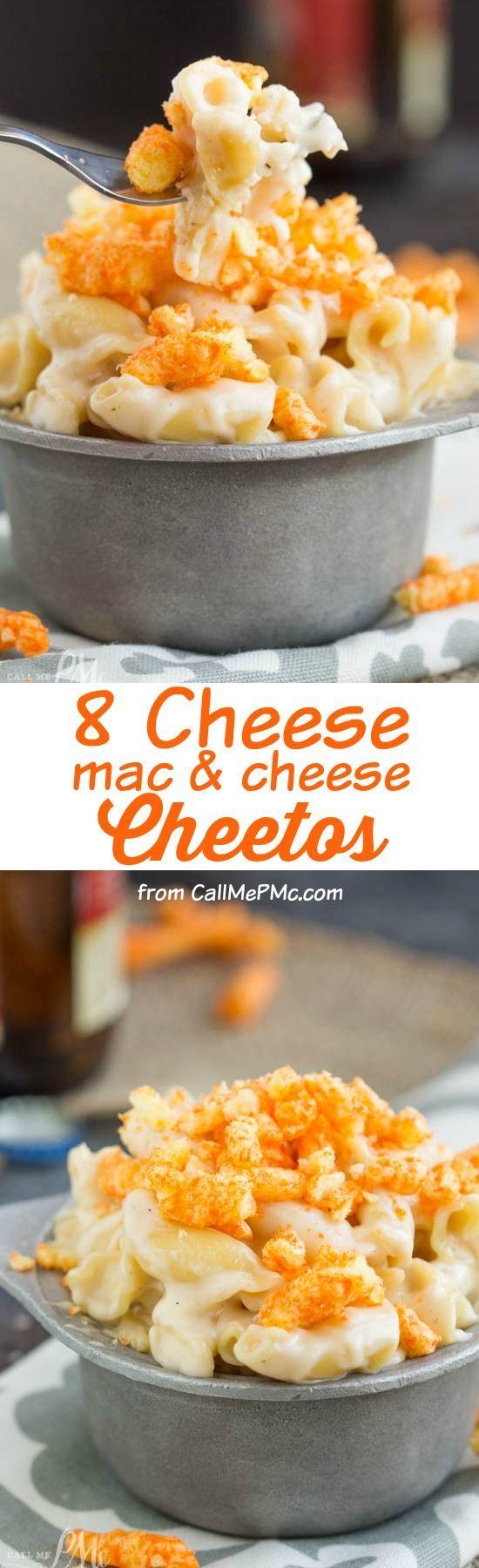 Eight Cheese Mac n Cheese with Cheetos Recipe is cheese on cheese on cheese then topped with crunchy cheesy Cheetos!