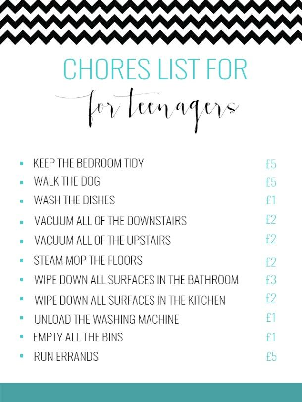 Our chores list for the teenager & what we pay gymbunnymummy.com @gymbunnymum