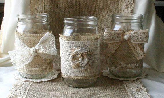 Burlap wedding, VINTAGE lace wedding JARs, Burlap wedding decorations, rustic farm house, shabby chic, country wedding