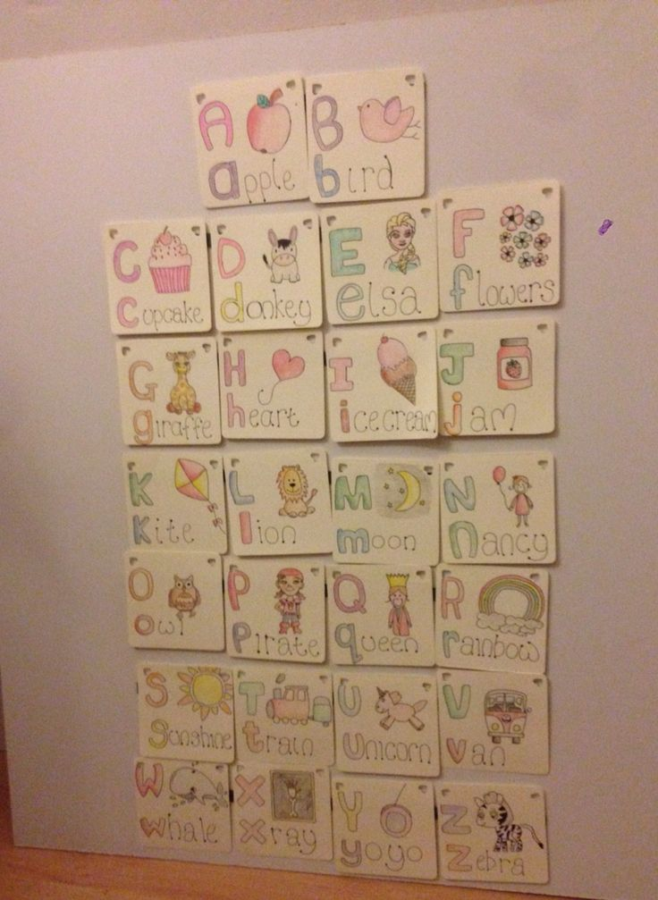 Magnetic alphabet cards on the board...all in order she's so clever xx