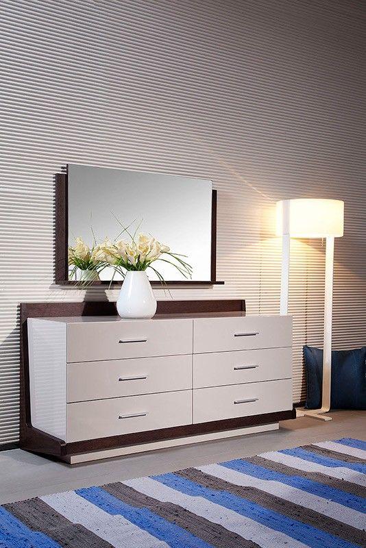 Modern Veneer Dresser furniture in Grey - $1000 -- Features: Includes six separate drawers for ample storage space #furniture #bedroom #LAfurniture #LAfurnitureStore #Furnituredesign #HomeDecor #Dresser #InteriorDesign #Bed #BedroomDesign