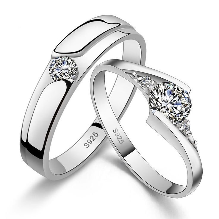 his hers matching couple cz sterling silver rings wedding band set - Wedding Rings For Couples