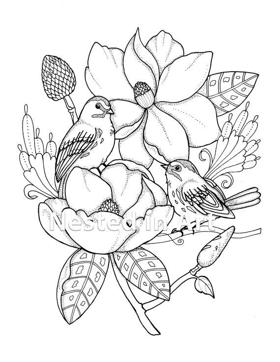 Punch Needle Pattern Coloring Book Page Birds With Etsy In 2020 Coloring Books Flower Art Drawing Punch Needle Patterns