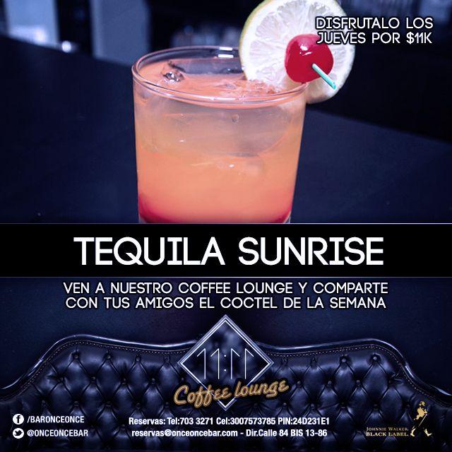 Esta semana nuestra especialidad es el Tequila Sunrise. Pruebalo!
