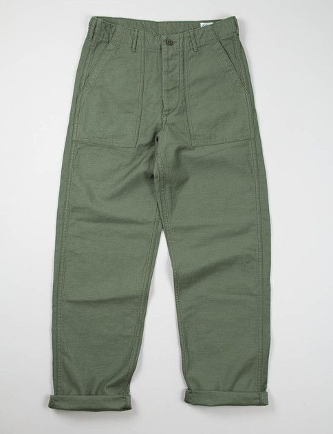 orSlow Green US Army Fatigue Pant in reverse sateen