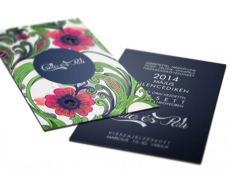 Modern, virág mintás esküvői meghívó kék-zöld-korall színkombinációban | Modern wedding invitation with flowers
