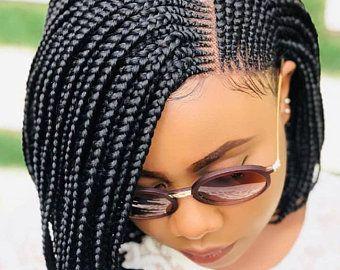 1 brun avec les cheveux de bébé disponible immédiatement / perruque tressée du Ghana / fermeture de lacet / perruque tressée par Cornrow / perruques tressées / tresses du Ghana