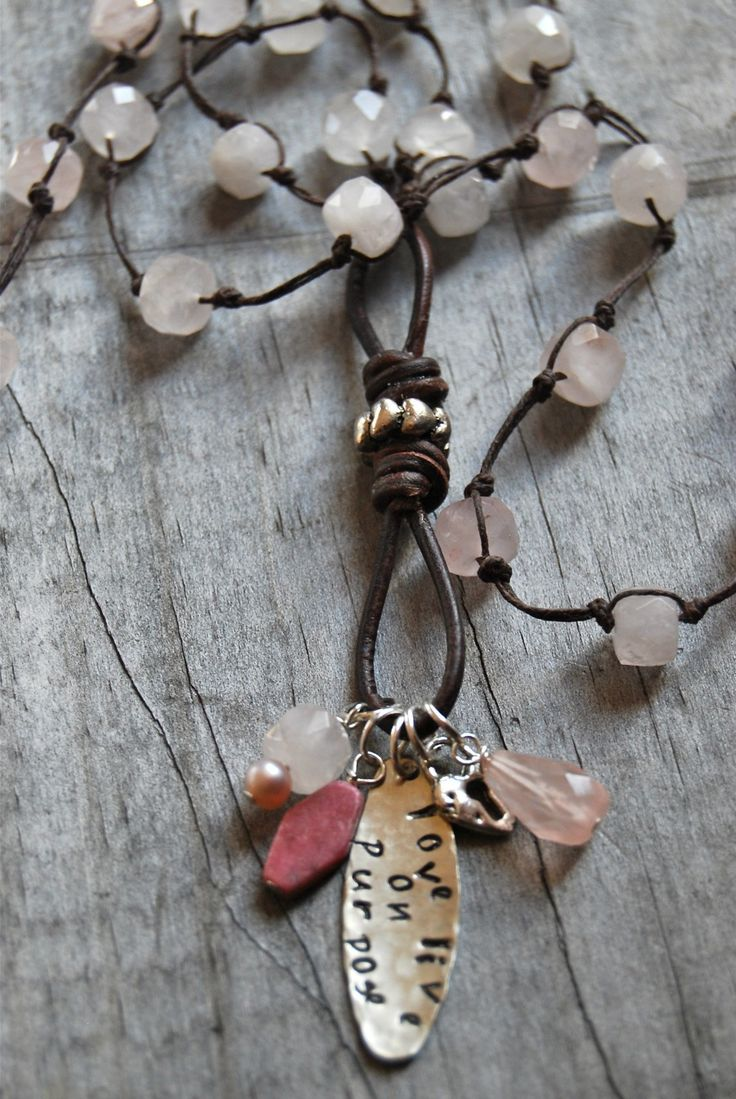 Example of a necklace with a beaded leather infinity link as the focal.