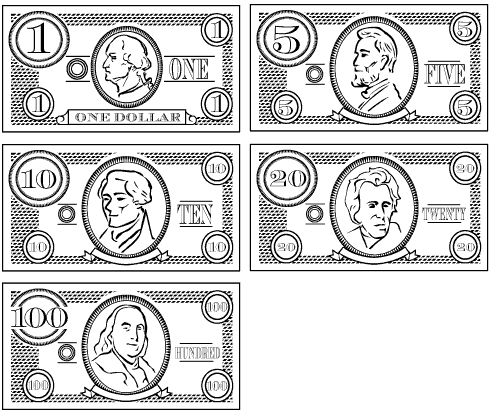 Play money fun for kids make believe pinterest for Coloring pages money