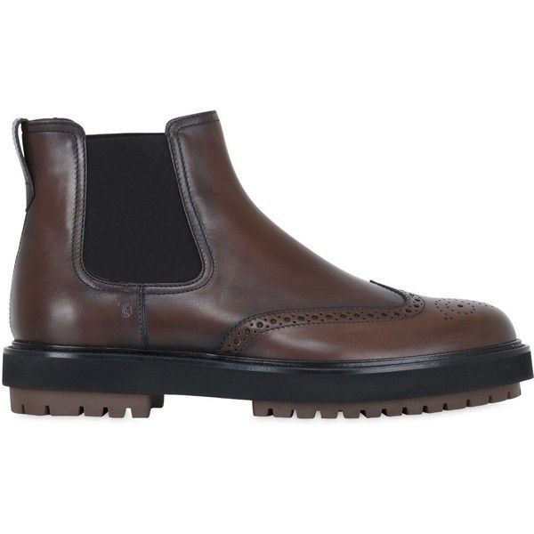 Tod's Men Brogue Leather Chelsea Boots (€760) ❤ liked on Polyvore featuring men's fashion, men's shoes, men's boots, brown, mens leather boots, mens brown wingtip boots, mens wing tip boots, mens brown chelsea boots and mens wingtip boots