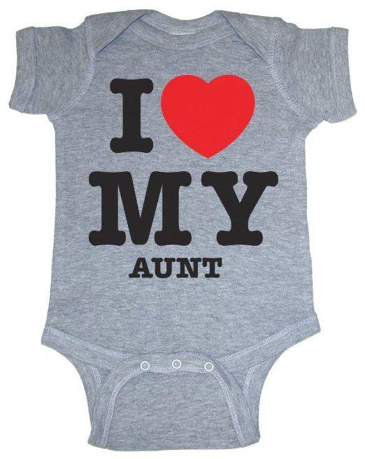 Amazon.com: So Relative! I Love My Aunt (Red Heart) Heather Grey Baby Infant Short Sleeve Bodysuit Creeper: Baby