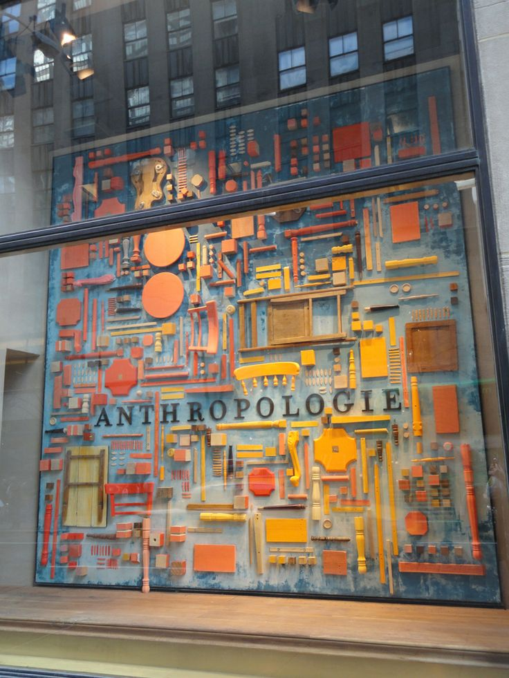 anthropologie window display- could do a big heart with all one colour product