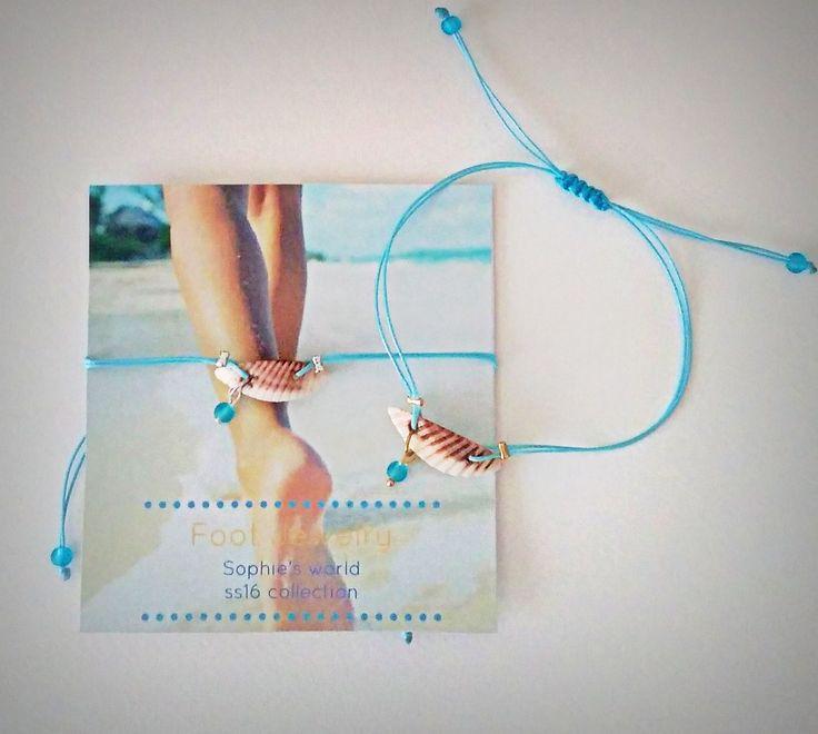 τιρκουάζ και κοχύλια στα χειροποίητα βραχιόλια για το πόδι #anklets #seashell #turquoise ➡ https://www.facebook.com/SophiesworldHandmade/