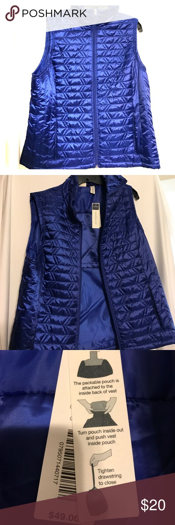 ‼️TODAY ONLY‼️ NWT Westbound Packable Vest Gorgeous blue vest, zips up the front, & has an attached pouch for packing! Westbound Jackets & Coats Vests