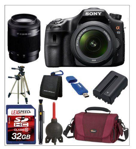 Sony Alpha SLT-A65 w/ Sony 18-55mm Lens + Sony SAL 55-200mm Lens + Lowepro Bag + Battery + Tripod + 32GB Kit by Sony. Save 25 Off!. $899.00. The Sony SLT-A65 Bundle Includes  1. Sony SLT-A65V Digital SLR Camera.  2. Sony AF DT 18-55 F3.5-5.6 SAM Lens.  3. Sony SAL-55200-2 55-200mm f/4-5.6 DT AF Zoom Lens. 4. Lowepro AVENTURA 170 Camera Bag.  5. LexSpeed 32GB SDHC Class 10 Memory Card. 6. Spare Battery NP-FM500H.  7. Digital Camera Cleaning Kit. 8. Sunpak 620-9002TM 58-Inch Tri-Mon...