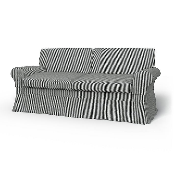 Ektorp, Sofa Covers, 2 Seater Sofa Bed, Loose Fit Country using the fabric Sandhamn Stripe Black/White