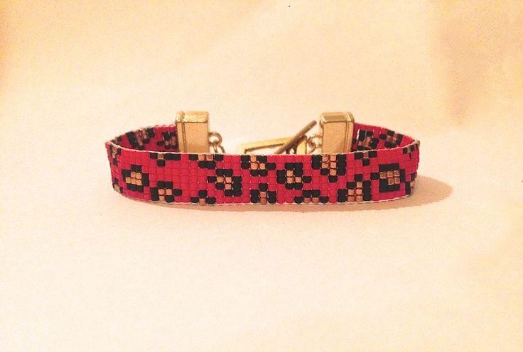 Luipaard armband rood van Ocean Glow Jewelry op DaWanda.com