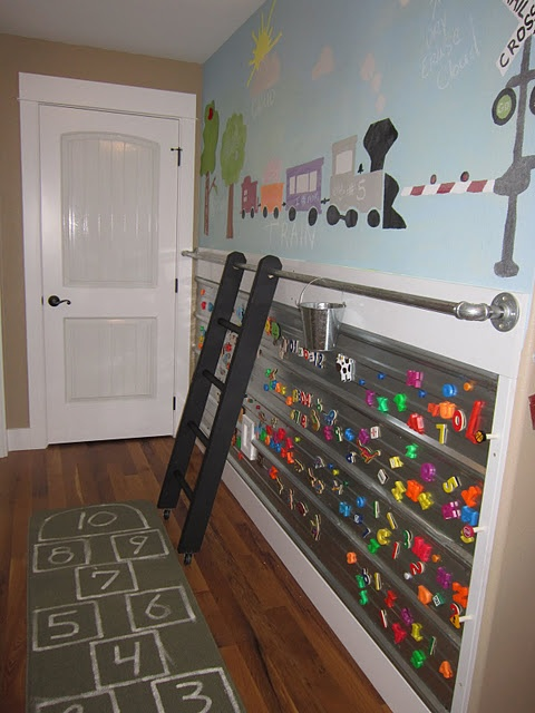 This, I love!  Magnetic/Metal wall, chalk wall, felt trees with sticky felt apples/birds/etcMagnets Boards, Magnets Wall, Activities Wall, Kids Room, Room Ideas, Playrooms, Plays Room, Boys Room, Art Activities