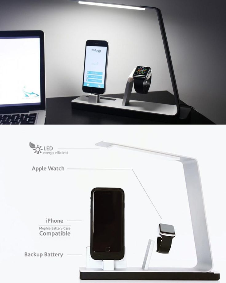 The NuDock is an LED lamp that has a built-in iPhone dock, as well as a dock for the Apple Watch The prototype also includes a small portable external USB battery for charging your iPhone on the go.