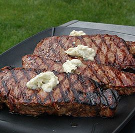 New York Strip Steaks with Blue Cheese Butter: This recipe gives you the basis for making compound butters, so you can add another dimension to your food. Now what does blue cheese butter do for a New York strip steak? Ultimate steak nirvana. Via FineCooking