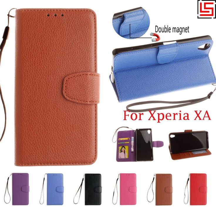 Cheap PU Leather Lather Lether Flip Filp Book Wallet Walet Wallt Phone Case Cover For Sony Xperia Experia Xpera XA Blue Red #Affiliate