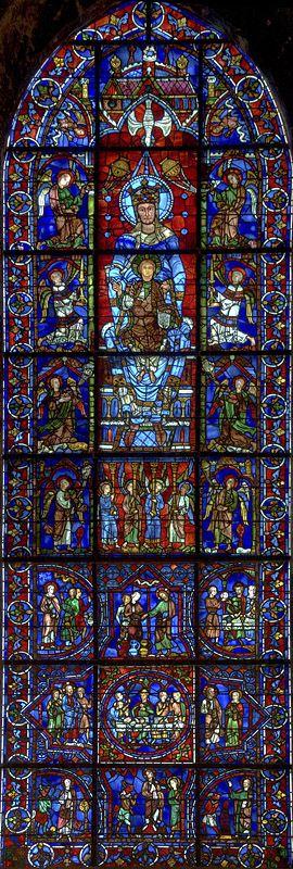 Notre Dame de la Belle Verriere window - Chartres Cathedral (Cathedral of Notre-Dame, Chartres), Chartres, France     c.1134-1220 CE