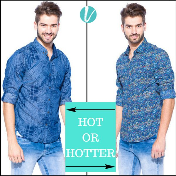 Hot or Hotter? Take your Pick! Shop Styles by product code: Left:124168 Right:126504 #Hotorhotter #mufti #shirts #blue #print #premium #vilara