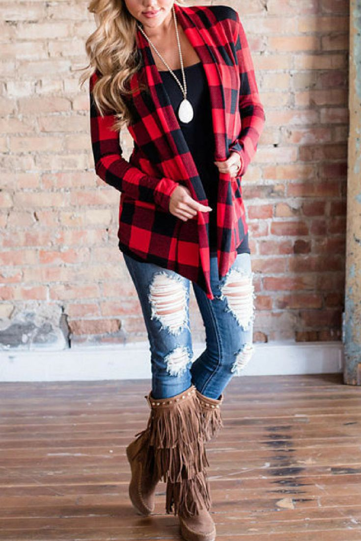 Love this cute casual fall outfit with boots, jeans, and flannel Cardigan Sweater Red Black Plaid Tunic Length Womens S-XXL Open Sweaters Fall Autumn Winter Photos Mothers Day Casual Elbow Patchwork Kimono #afflink