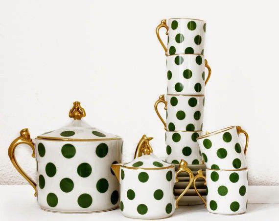 Art Deco Limoges Porcelain : Chabrol & Poirier Limoges polka dot pattern